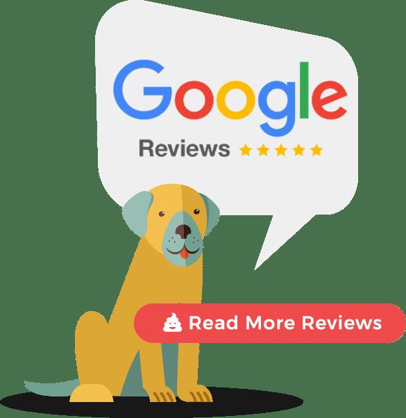 dog behind google reviews button