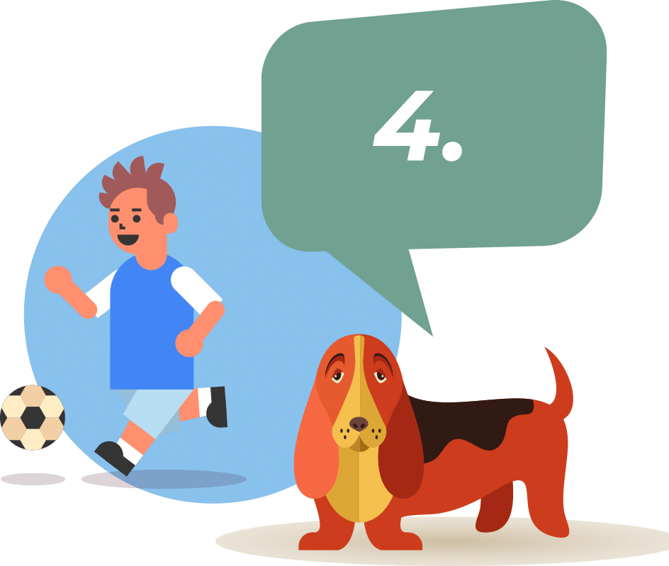 dog with child playing soccer behind